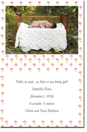 Blue Mug Designs Birth Announcements - Rose Pattern Photo