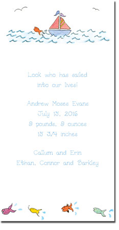 Blue Mug Designs Birth Announcements - Sailboat