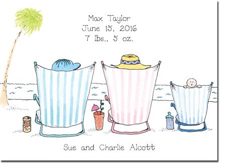 Blue Mug Designs Birth Announcements - Boy On The Beach