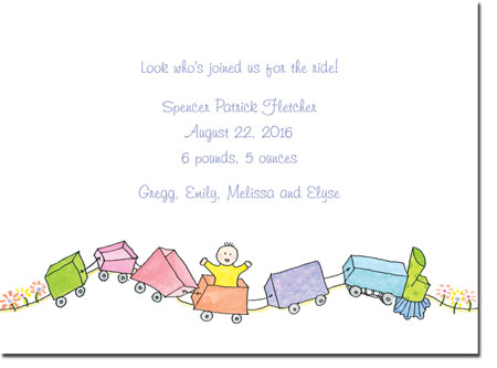 Blue Mug Designs Birth Announcements - Toy Train