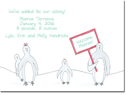Blue Mug Designs Birth Announcements - Penguin Family
