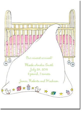Blue Mug Designs Birth Announcements - Girl Cradle