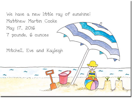 Blue Mug Designs Birth Announcements - Lil' Umbrella - Boy