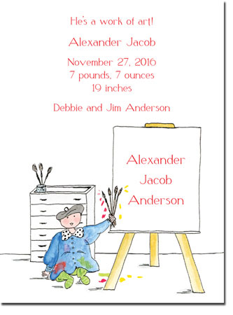 Blue Mug Designs Birth Announcements - Boy Artist