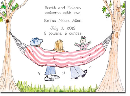 Blue Mug Designs Birth Announcements - Girl Hammock