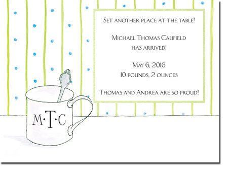 Blue Mug Designs Birth Announcements - Steling Cup