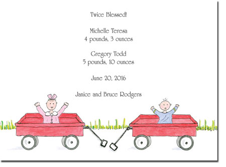 Blue Mug Designs Birth Announcements - Boy/Girl Twin Wagons