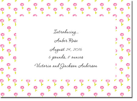 Blue Mug Designs Birth Announcements - Rose Border