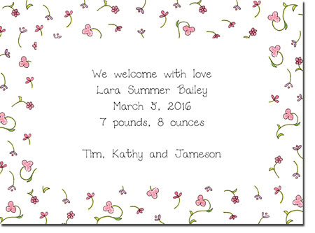 Blue Mug Designs Birth Announcements - Pink Floral Border