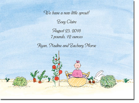Blue Mug Designs Birth Announcements - Girl In The Garden