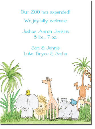 Blue Mug Designs Birth Announcements - Zoo