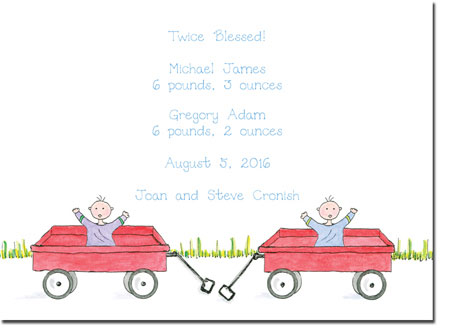 Blue Mug Designs Birth Announcements - Twin Boy Wagons