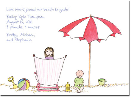 Blue Mug Designs Birth Announcements - Sister At The Beach