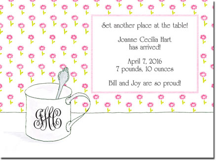 Blue Mug Designs Birth Announcements - Girl Sterling Cup