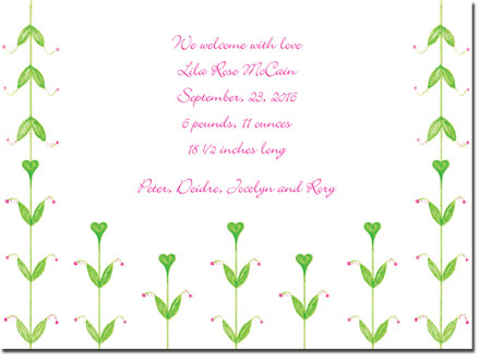 Blue Mug Designs Birth Announcements - Heart Sprigs