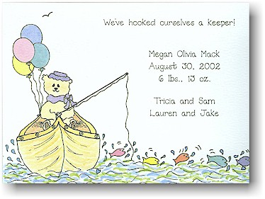Blue Mug Designs Birth Announcement - Gone Fishin'