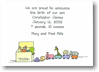 Blue Mug Designs Birth Announcement - Party Animals