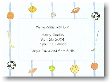 Blue Mug Designs Birth Announcement - Play Ball!