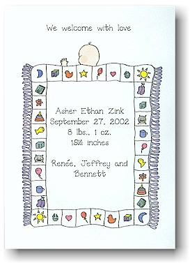 Blue Mug Designs Birth Announcement - Asher's Quilt