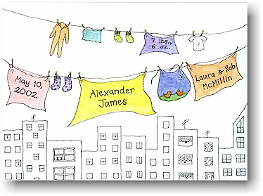 Blue Mug Designs Birth Announcement - Baby Clothesline