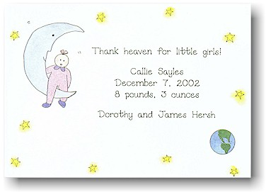 Blue Mug Designs Birth Announcement - Moonbeam Baby Pink