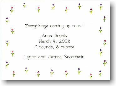Blue Mug Designs Birth Announcement - Forget-Me-Nots