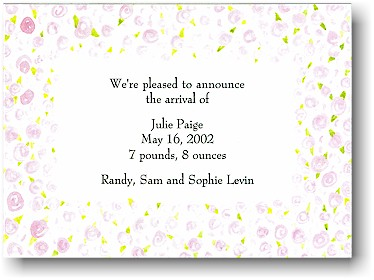Blue Mug Designs Birth Announcement - Field of Blooms