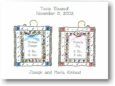 Blue Mug Designs Birth Announcement - Doubly Blessed - Pink/Blue