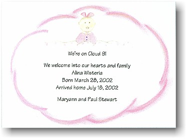 Blue Mug Designs Birth Announcement - Cloud 9 Pink