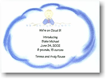 Blue Mug Designs Birth Announcement - Cloud 9 - Blue