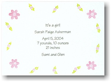 Blue Mug Designs Birth Announcement - Pretty In Pink