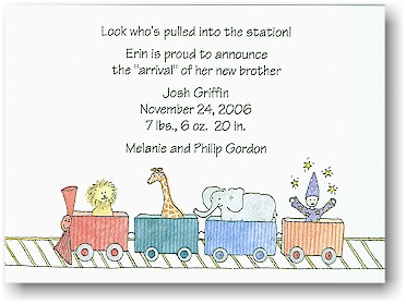 Blue Mug Designs Birth Announcement - Circus Train