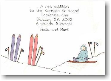 Blue Mug Designs Birth Announcement - On The Slopes