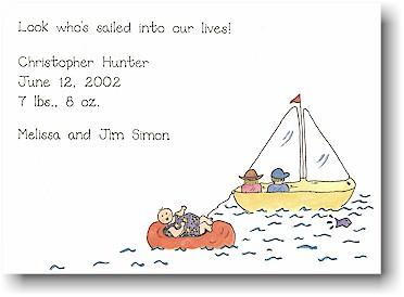 Blue Mug Designs Birth Announcement - Happy Sailing
