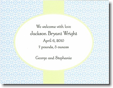 Boatman Geller - Blue & Light Green Mosaic Birth Announcements