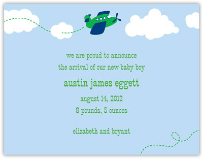 Boatman Geller - Airplane Birth Announcements/Invitations