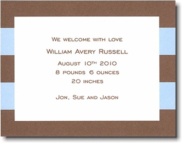 Boatman Geller - Blue & Brown Rugby Birth Announcements/Invitations