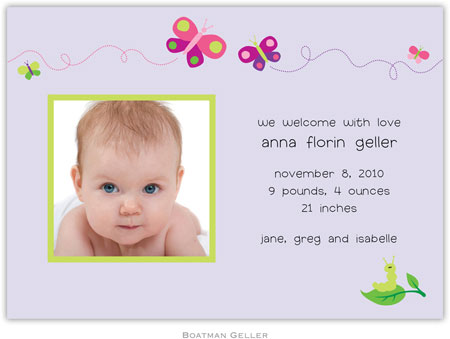 Boatman Geller - Butterfly Photo Birth Announcements & Invitations