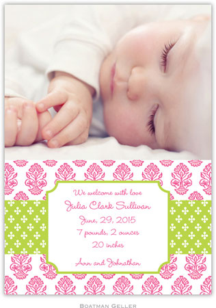 Boatman Geller - Beti Pink Photo Birth Announcements