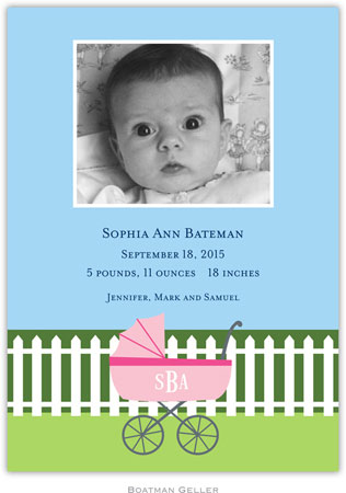 Boatman Geller - Charming Pram Pink Photo Birth Announcements