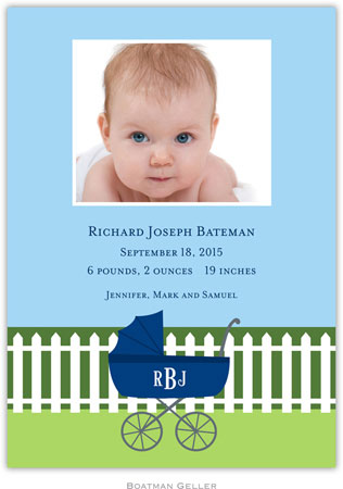 Boatman Geller - Charming Pram Navy Photo Birth Announcements