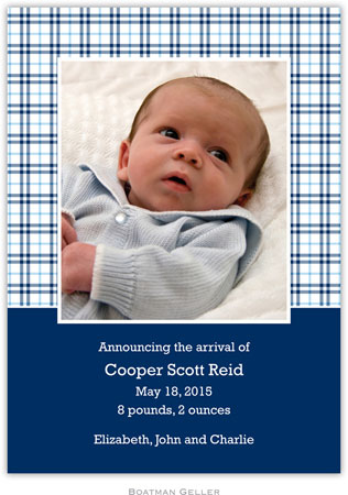 Boatman Geller - Baxter Check Photo Birth Announcements