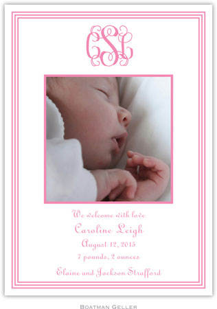 Boatman Geller - Grand Border Pink Photo Birth Announcements