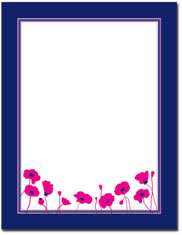 Imprintable Blank Stock - Magenta Poppies Letterhead by Great Papers