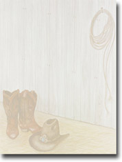 Imprintable Blank Stock - Cowboy Boots Letterhead by Masterpiece Studios