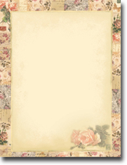 Imprintable Blank Stock - Floral Collage Letterhead by Masterpiece Studios