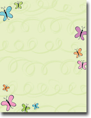 Imprintable Blank Stock - Nouveau Butterflies Letterhead by Masterpiece Studios