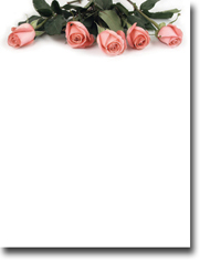 Imprintable Blank Stock - Pink Rose Petals Letterhead by Masterpiece Studios