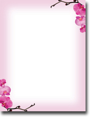 Imprintable Blank Stock - Pink Orchids Letterhead by Masterpiece Studios