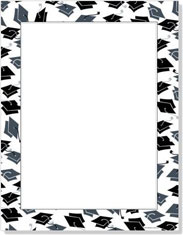 Imprintable Blank Stock - Mortar Hat Border Letterhead